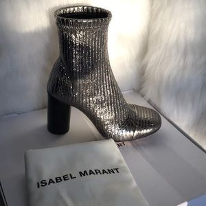 ISABEL MARANT leather and fabric boots